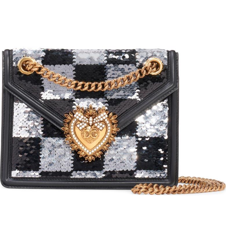 DOLCE&GABBANA Devotion Paillette Checkerboard Sequin Crossbody Bag, Main, color, BLACK/ WHITE