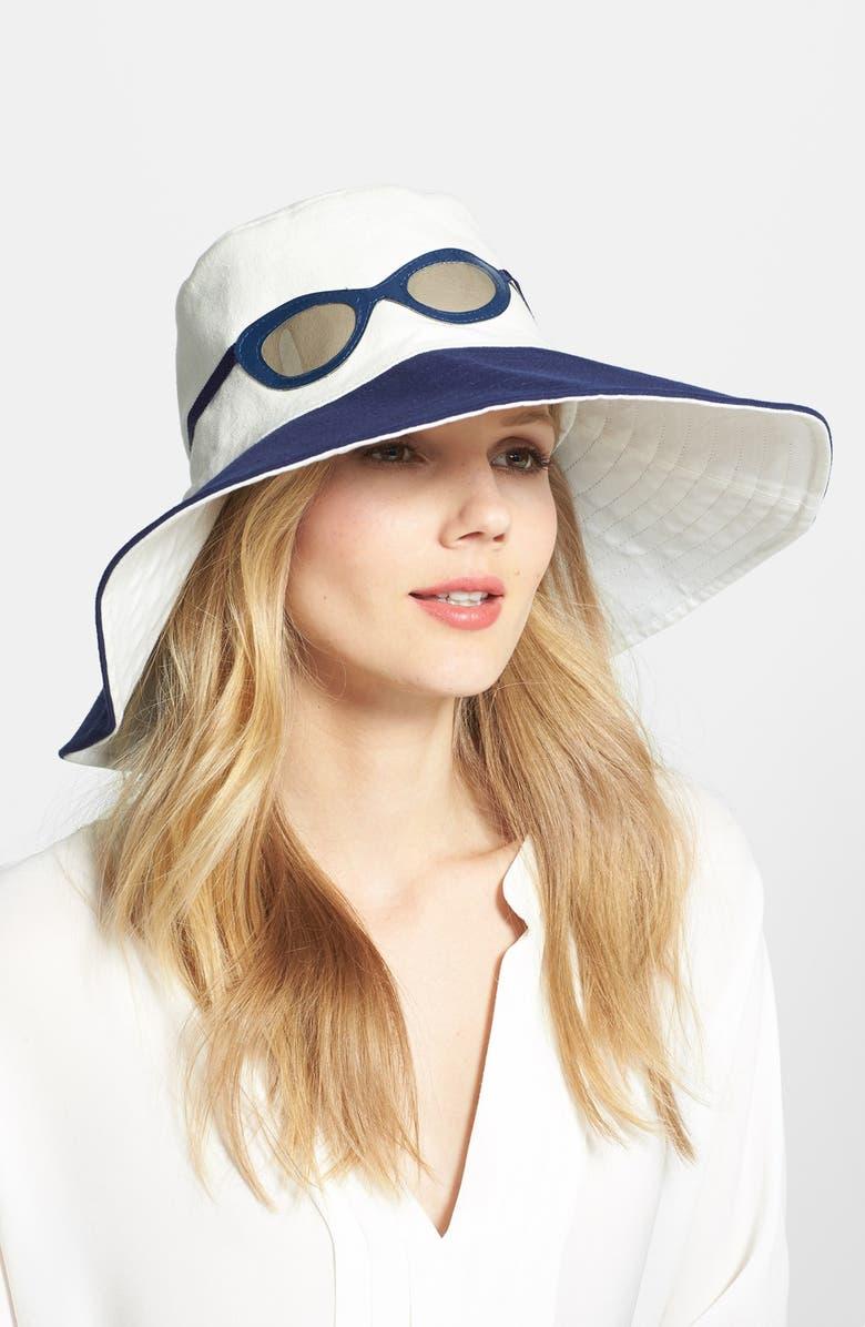 KATE SPADE NEW YORK 'sunglasses' canvas hat, Main, color, 100