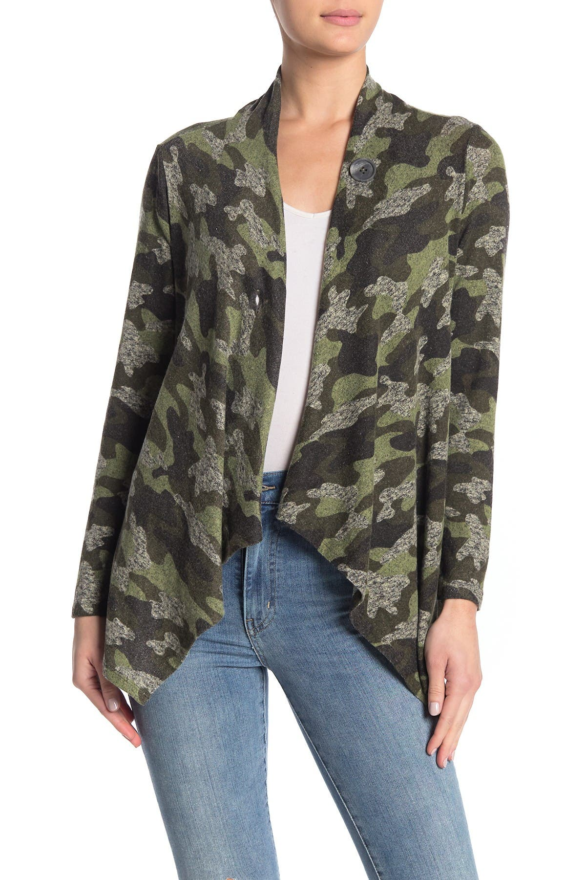 Image of Bobeau Camo Print One Button Cardigan