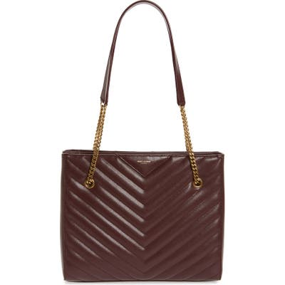 Saint Laurent Medium Tribeca Quilted Calfskin Leather Tote - Burgundy