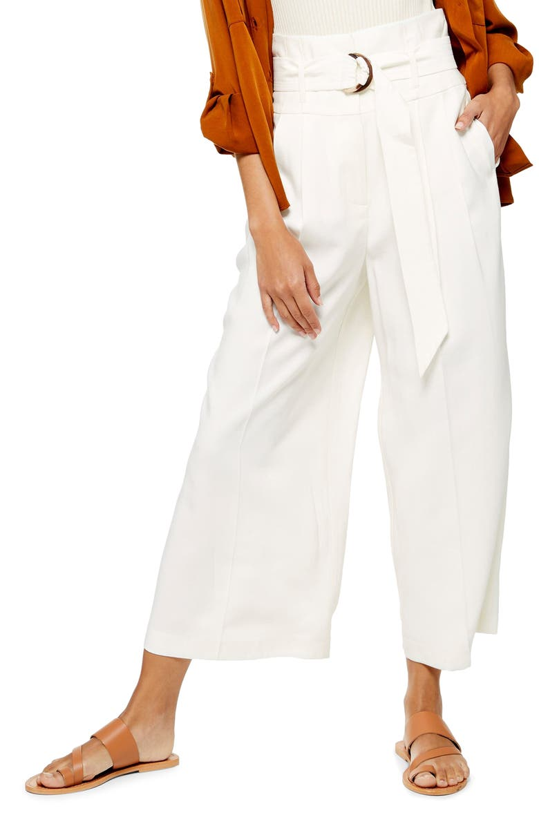 TOPSHOP Wide Leg Crop Pants, Main, color, 900