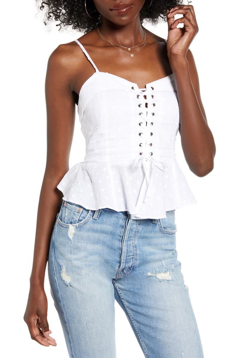 4SI3NNA Thea Lace-Up Peplum Clip Dot Camisole, Main, color, WHITE