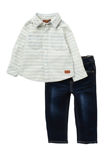 Image of 7 For All Mankind Striped Shirt & Jeans Set
