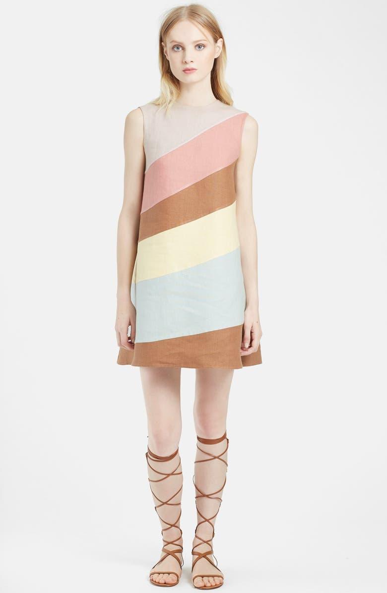 VALENTINO Diagonal Stripe Linen Shift Dress, Main, color, 650
