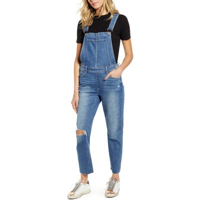 Paige Sierra Ripped Skinny Overalls, Blue