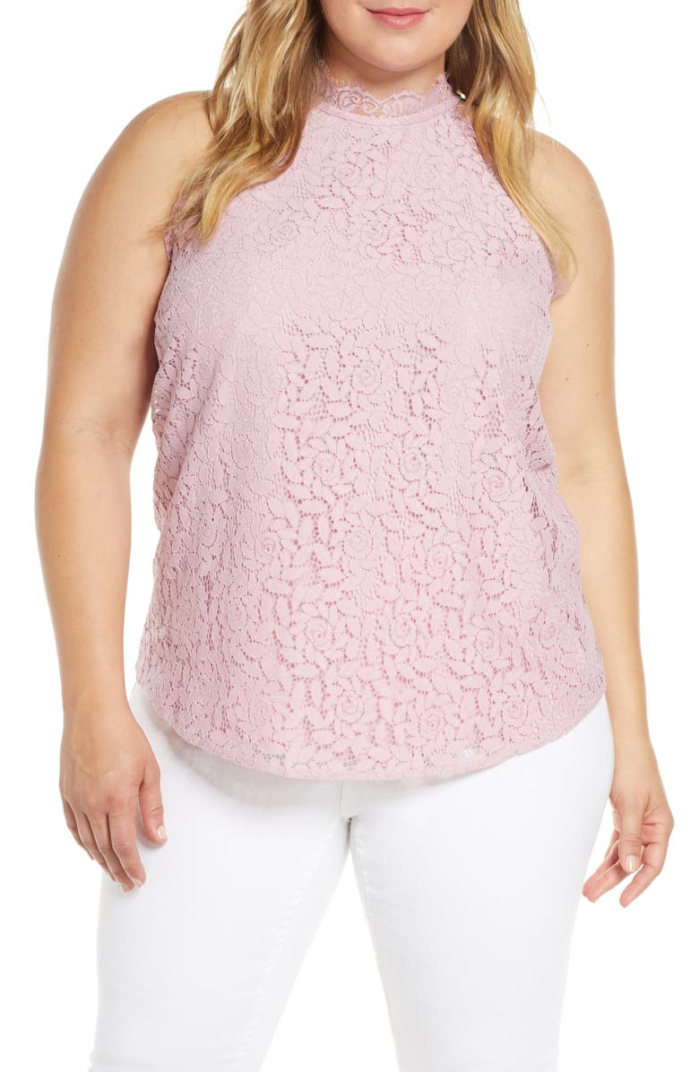 GIBSON x Hot Summer Nights Almost Ready Lace Trim Sleeveless Top, Main, color, 650