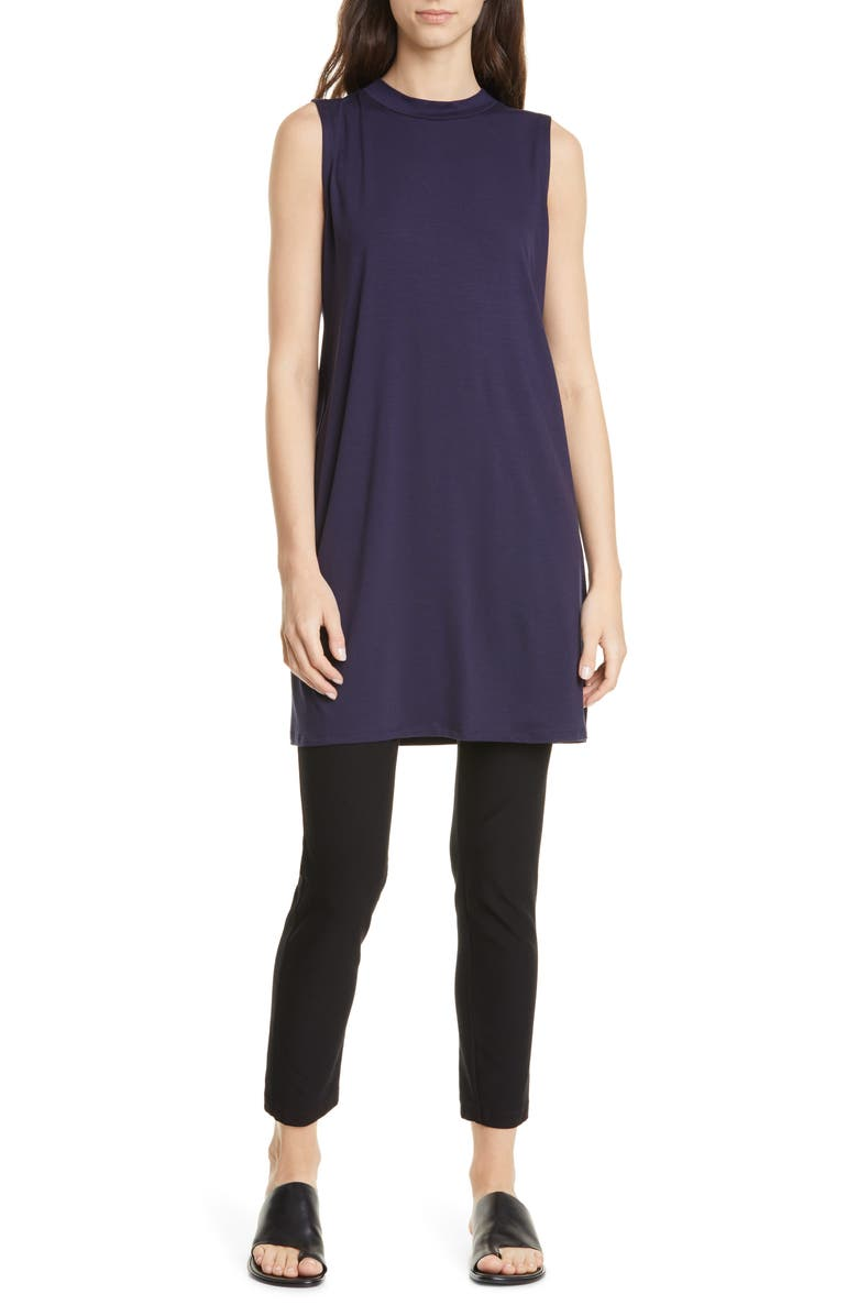 EILEEN FISHER Stretch Tencel<sup>®</sup> Lyocell Shift Dress, Main, color, MIDNIGHT