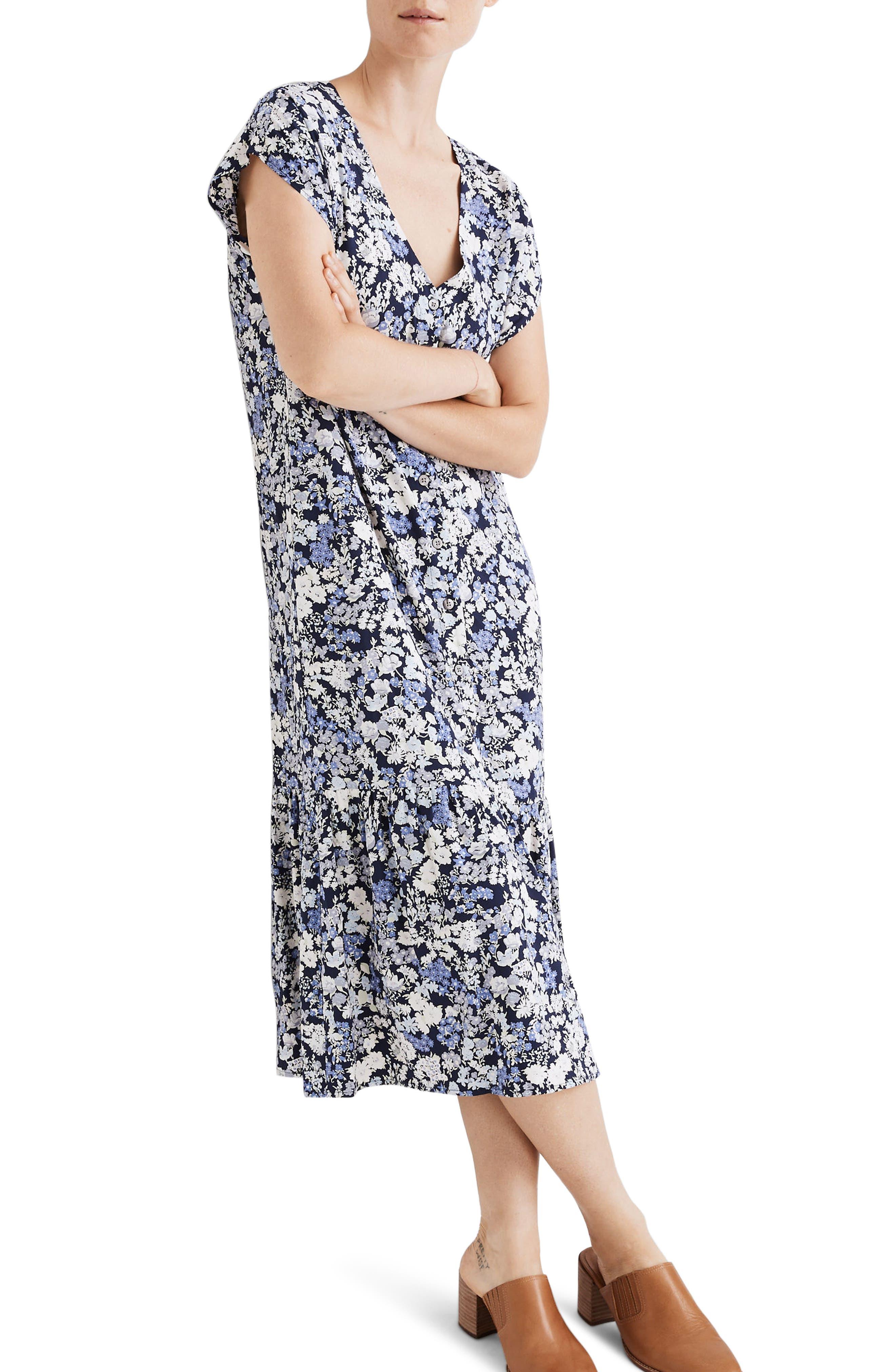 Image of Madewell Flower Garden Button Front Ruffle Hem Midi Dress