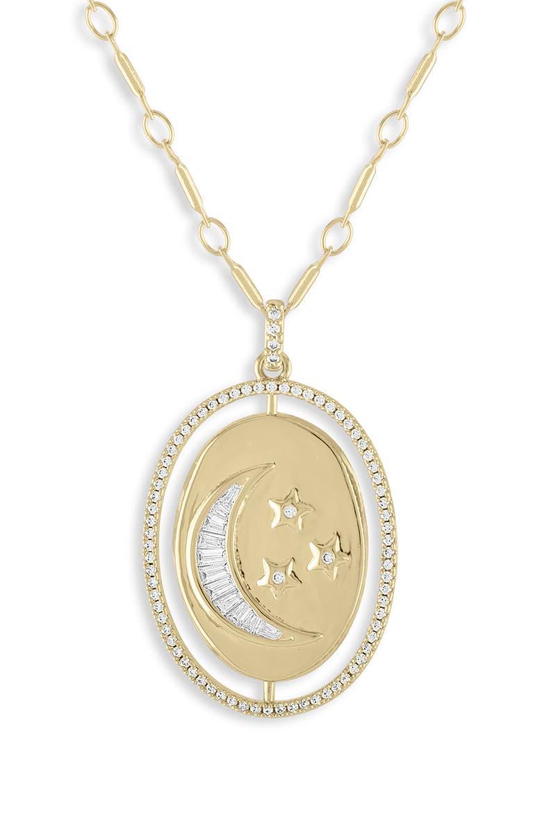 LULU DK Moon & Star Medallion Pendant Necklace, Main, color, 710