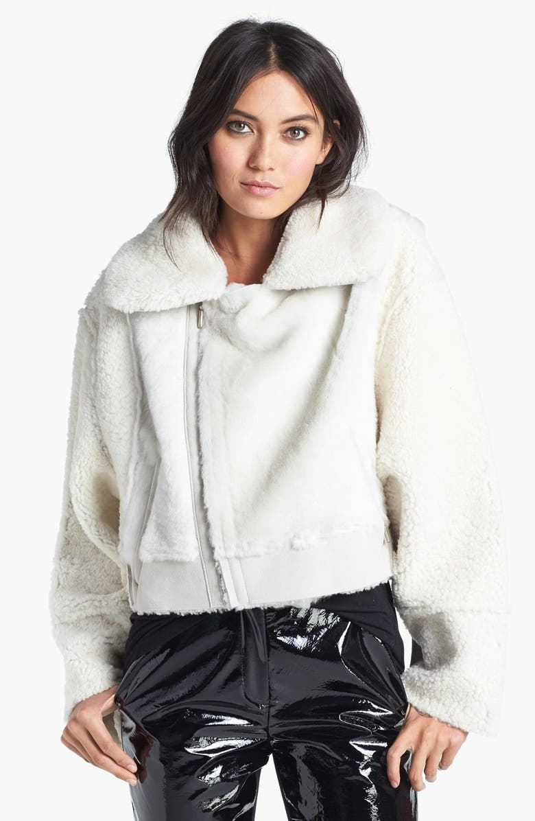 TOPSHOP UNIQUE Genuine Shearling Bomber Jacket, Main, color, 900