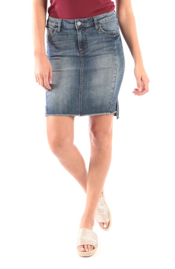 Kut From The Kloth CONNIE STEP HEM DENIM SKIRT