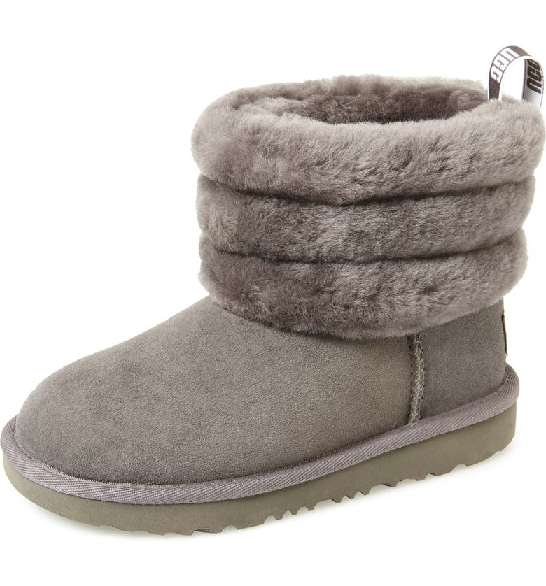 UGG<SUP>®</SUP> Fluff Mini Quilted Boot, Main, color, CHARCOAL