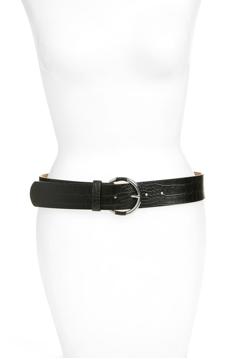 HALOGEN<SUP>®</SUP> Circle Buckle Croc Embossed Belt, Main, color, 001