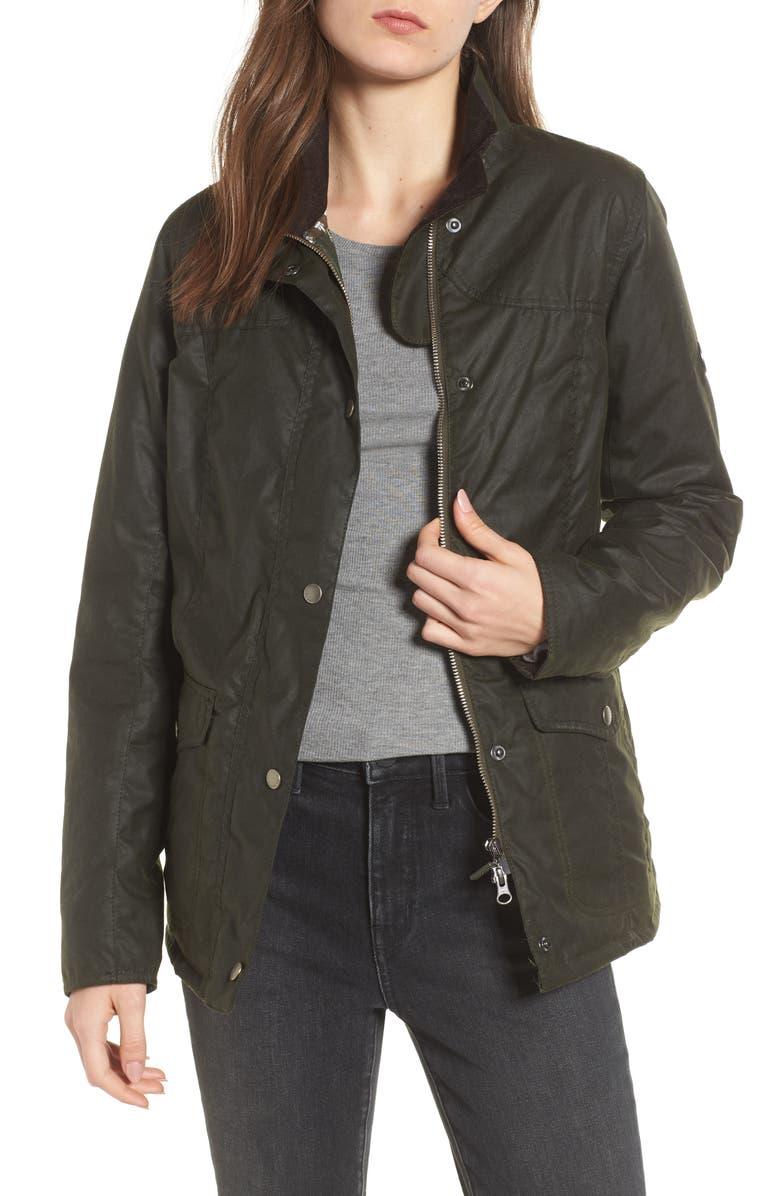BARBOUR Sandsend Waxed Cotton Utility Jacket, Main, color, 340