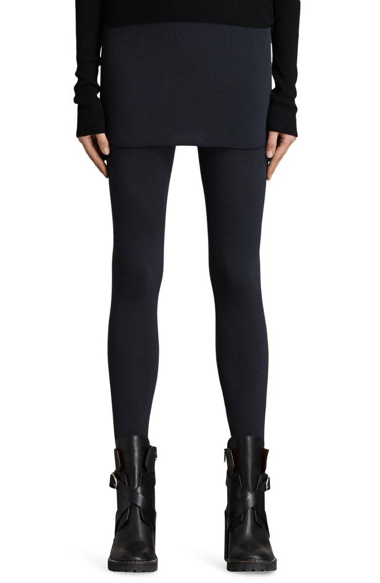 ALLSAINTS Raffi Skirted Leggings, Main, color, BLACK