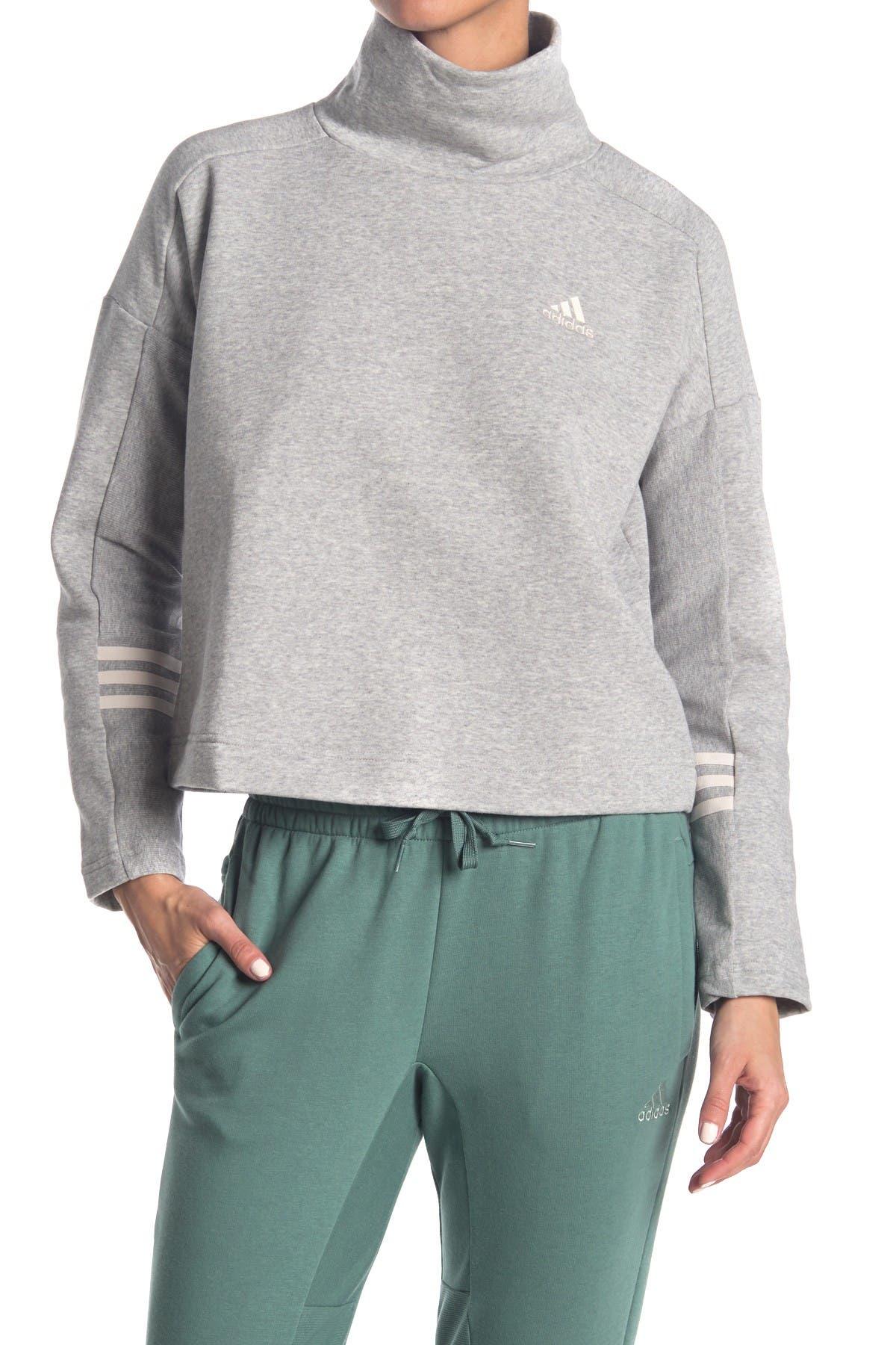 Image of adidas Comfort Mock Neck Back Zip Sweatshirt
