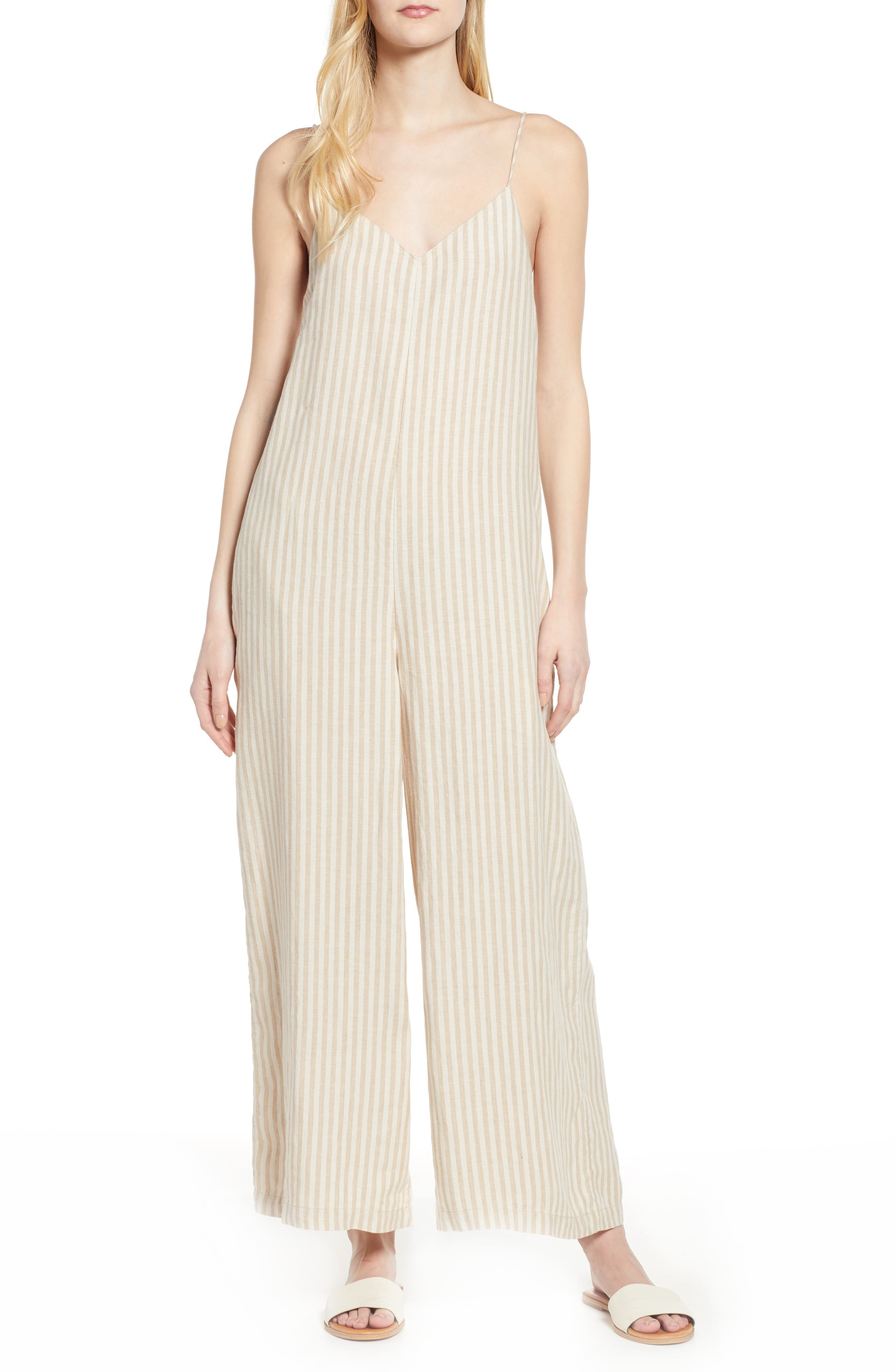Lou & Grey Stripe Linen Jumpsuit, Ivory