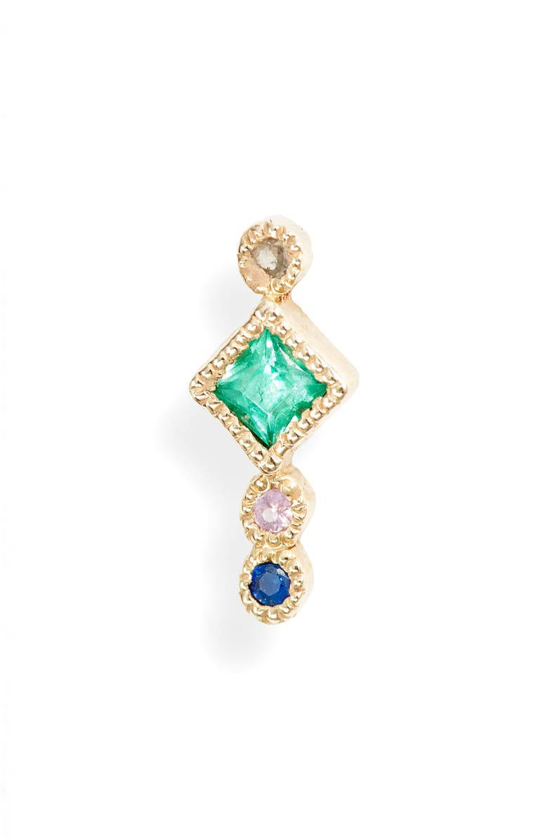 JENNIE KWON DESIGNS Emerald Journey Single Stud Earring, Main, color, YELLOW GOLD/ EMERALD/ SAPPHIRE