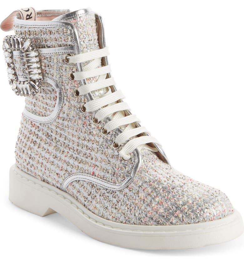 ROGER VIVIER Ranger Leather Piped High Top Boot, Main, color, WHITE/ SILVER