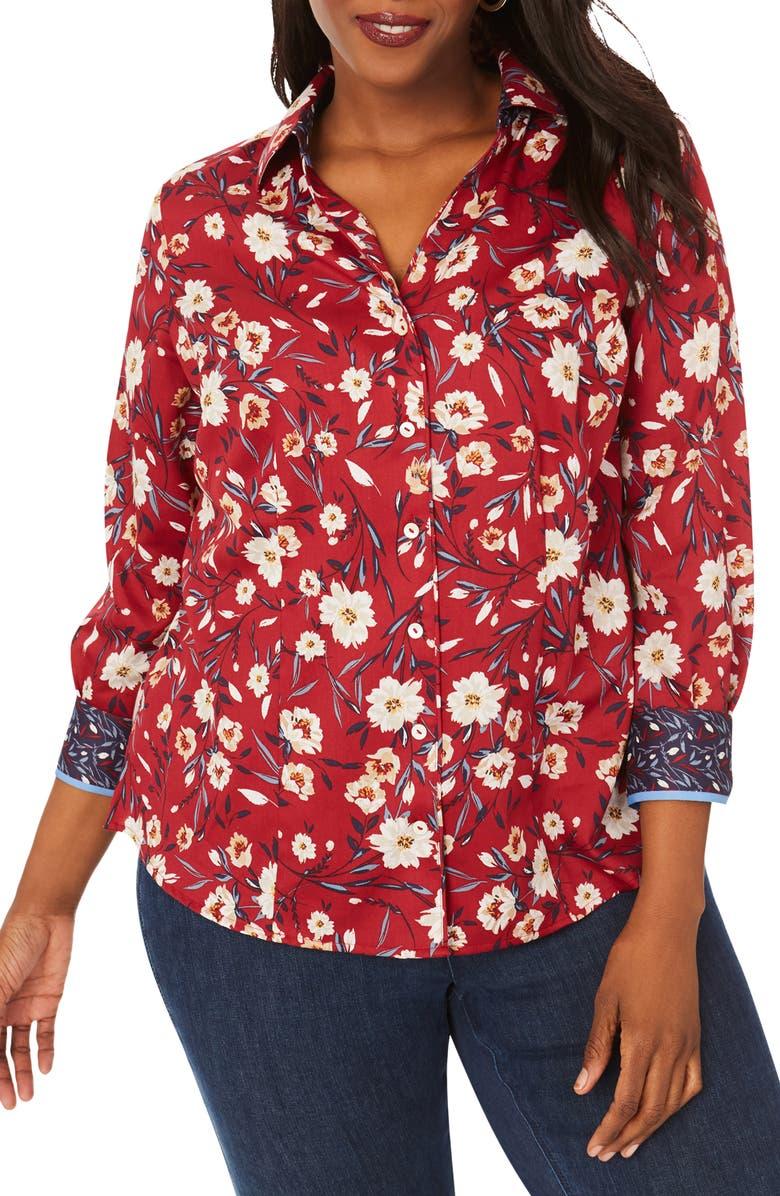 FOXCROFT Lauren Floral Print Non-Iron Shirt, Main, color, MUM RED