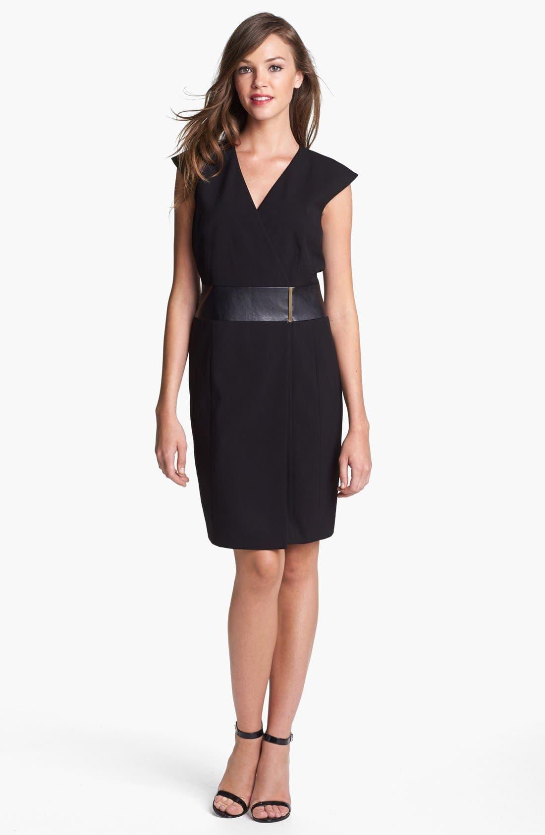 Faux Leather Waist Wrap Dress, Main, color, 003