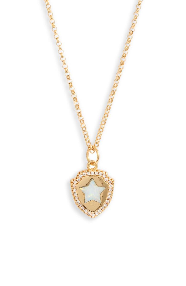 BRACHA Opal Shield Pendant Necklace, Main, color, GOLD / WHITE 0PAL