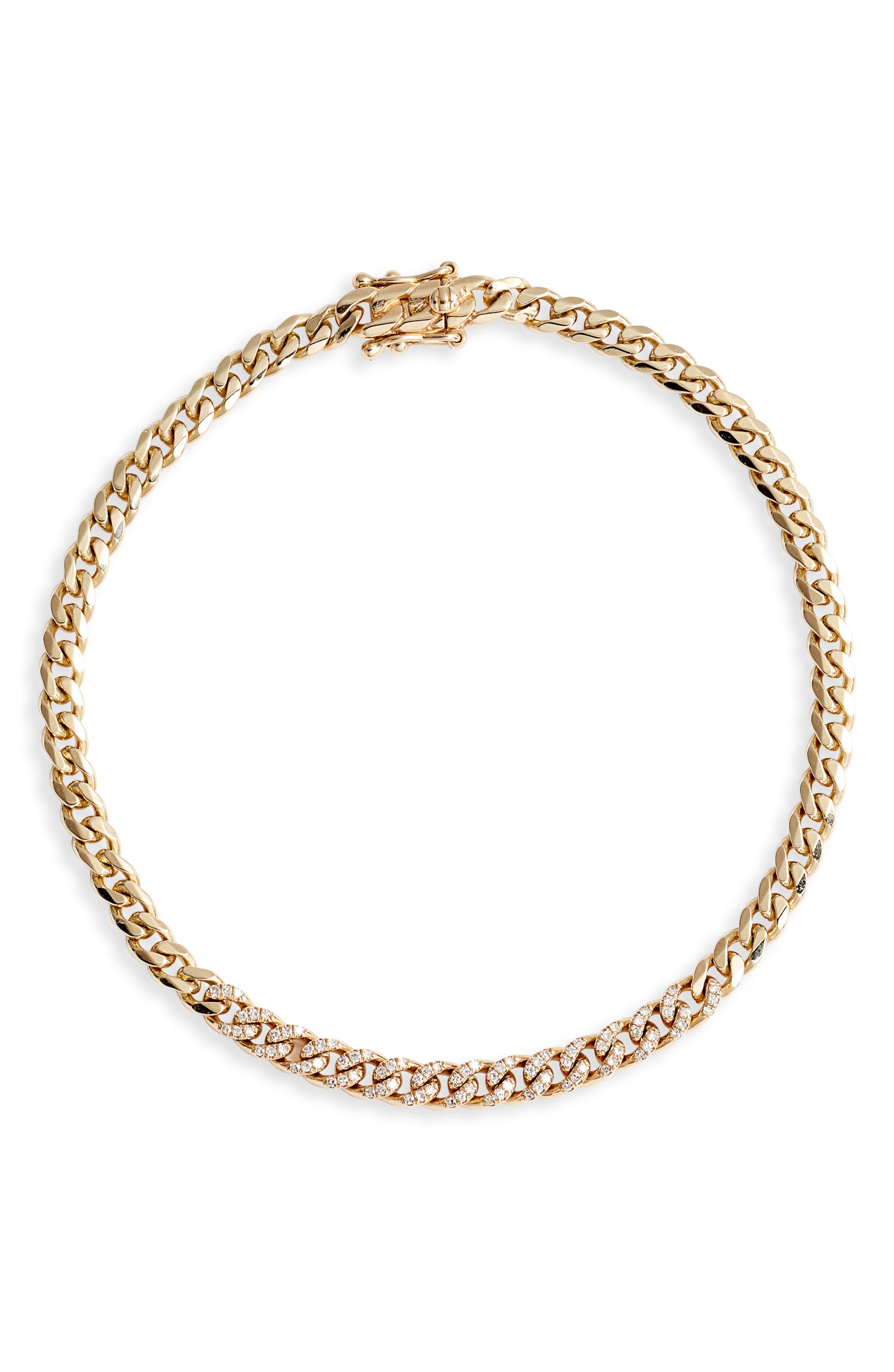 Diamond Mini Curb Chain Bracelet