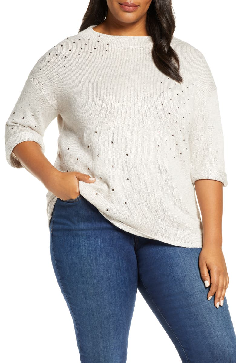 NIC+ZOE Starry Eyed Sweater, Main, color, SUGAR COOKIE