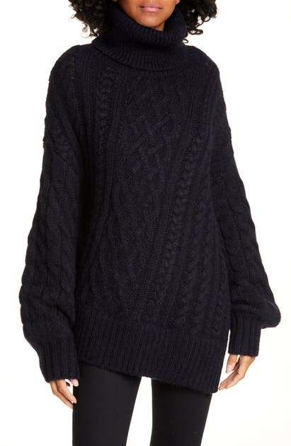 A.l.c Knits NEVELSON TURTLENECK ASYMMETRICAL CABLE KNIT SWEATER