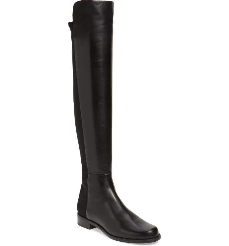 STUART WEITZMAN 5050 Over the Knee Leather Boot, Main, color, BLACK NAPPA/ STRETCH