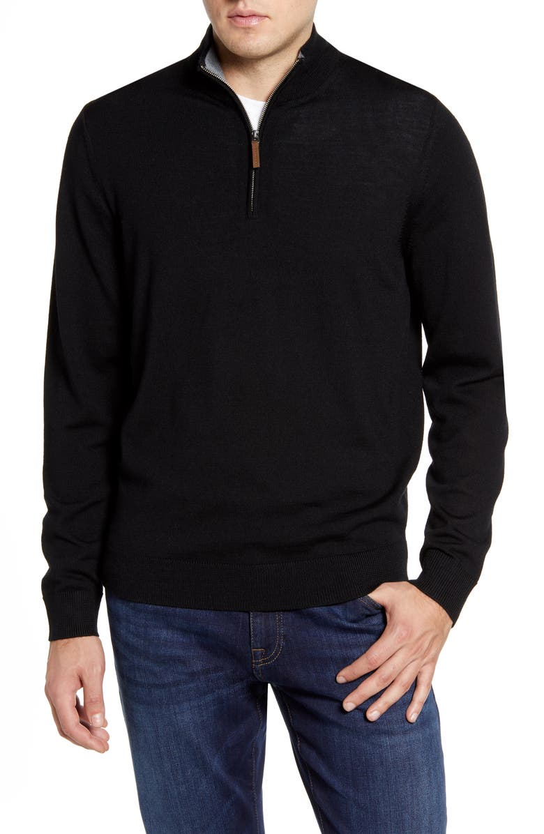 NORDSTROM MEN'S SHOP Quarter Zip Wool Pullover, Main, color, 001