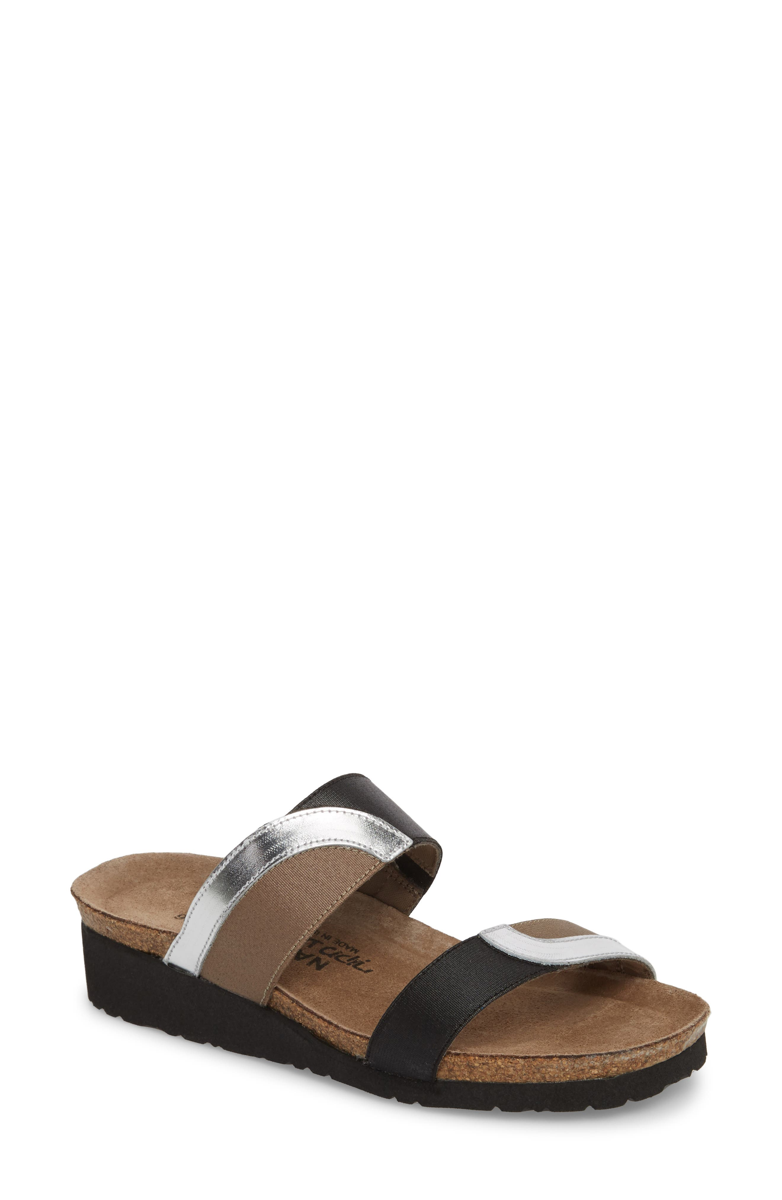 Mixed-media, multicolored straps distinguish a comfort-minded slide sandal fitted with a well-cushioned anatomic footbed with arch support and a wedge sole. Style Name: Naot Frankie Slide Sandal (Women). Style Number: 5573751. Available in stores.