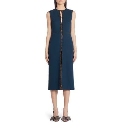 Fendi Logo Trim Wool Crepe Midi Dress, 50 IT - Blue