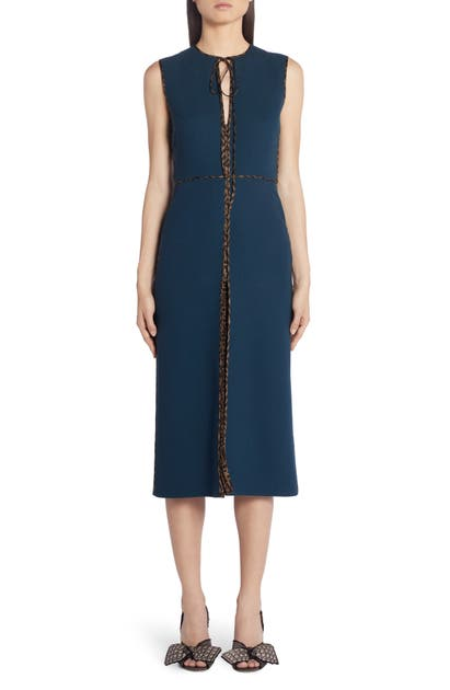 Fendi Dress LOGO TRIM WOOL CREPE MIDI DRESS
