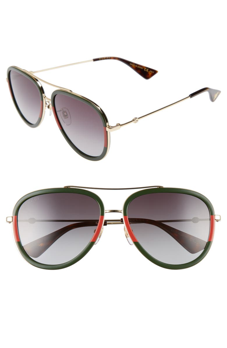 GUCCI 57mm Aviator Sunglasses, Main, color, MEDIUM GOLD