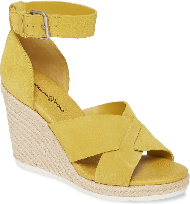 TREASURE & BOND Poppy Espadrille Wedge Sandal, Main, color, DANDELION SUEDE
