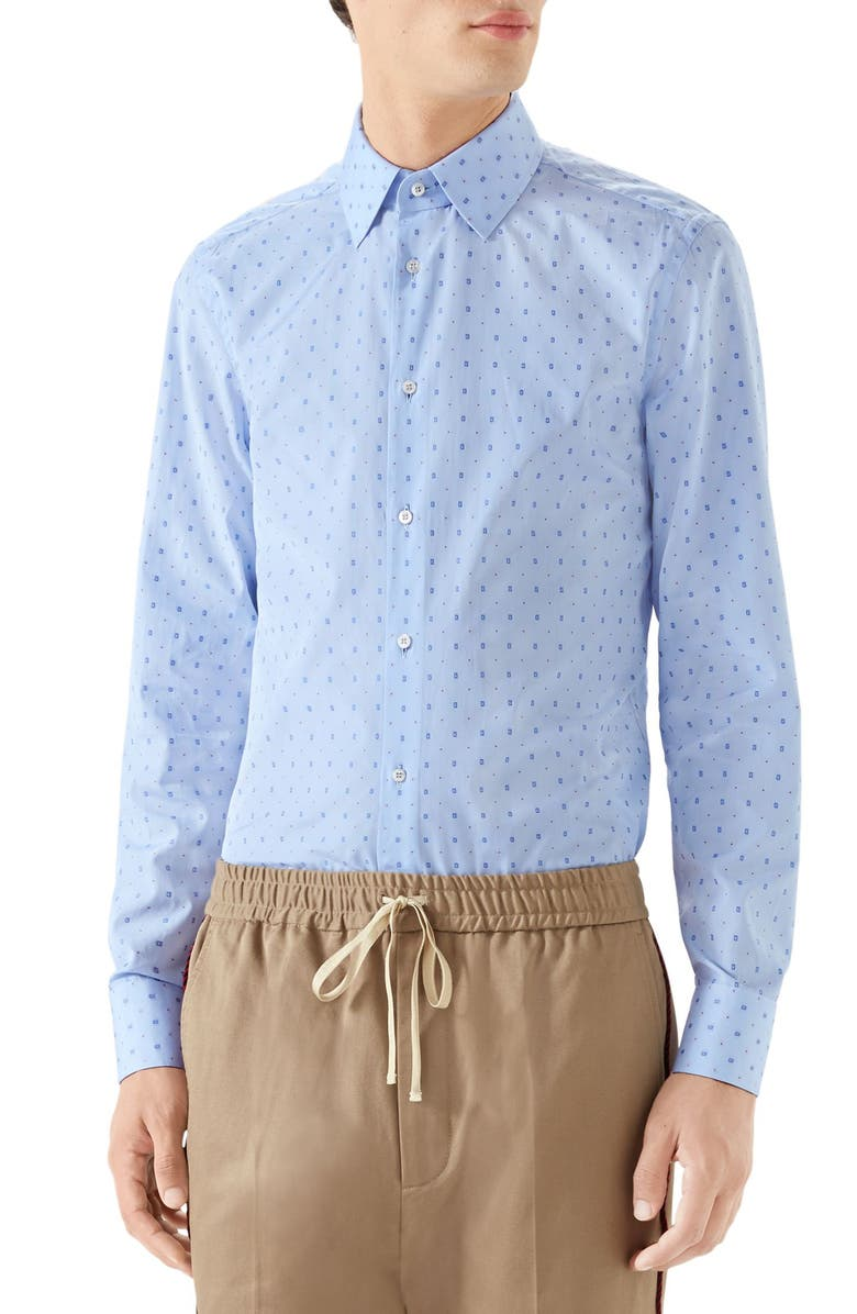 GUCCI G-Allover Fil Coupé Sport Shirt, Main, color, LIGHT SKYE BLUE