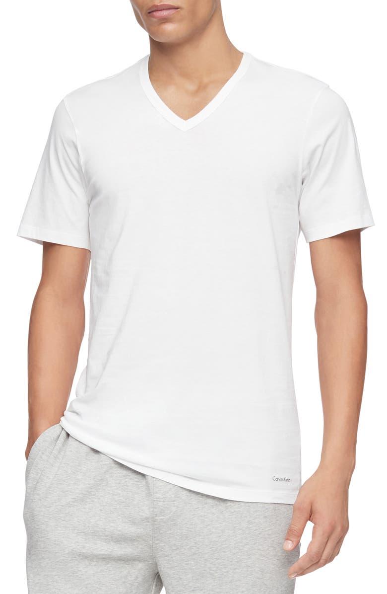 CALVIN KLEIN 3-Pack Slim Fit Cotton V-Neck T-Shirt, Main, color, WHITE