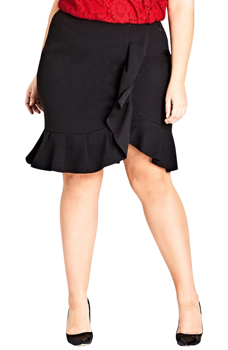 CITY CHIC Ruffle Faux Wrap Skirt, Main, color, 001