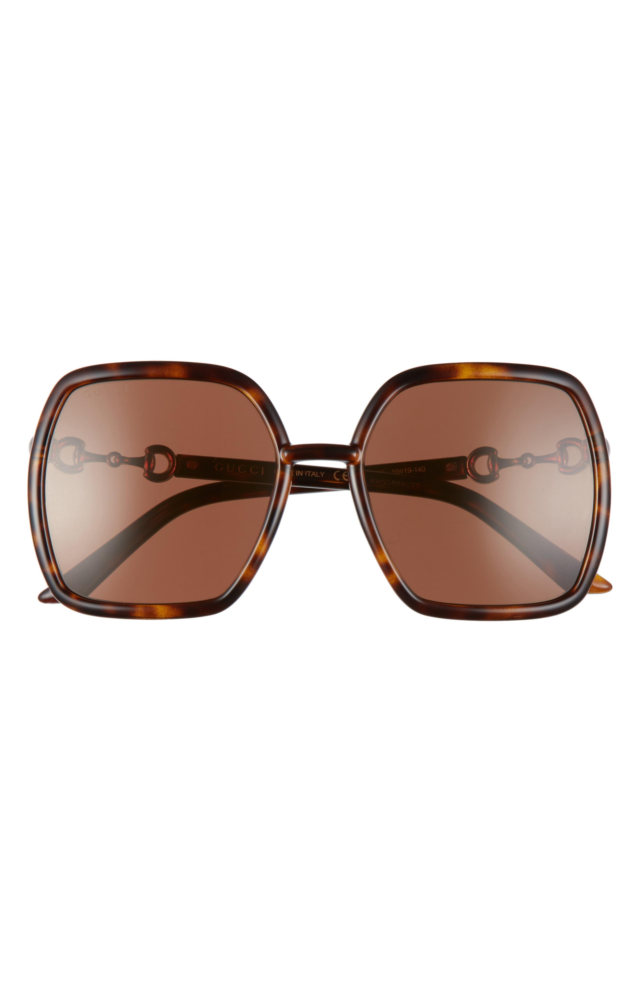 Women's Gucci 55mm Square Sunglasses - Havana/ Brown