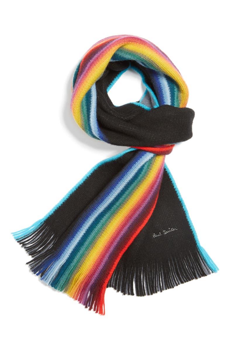PAUL SMITH Rainbow Edge Wool Scarf, Main, color, 001