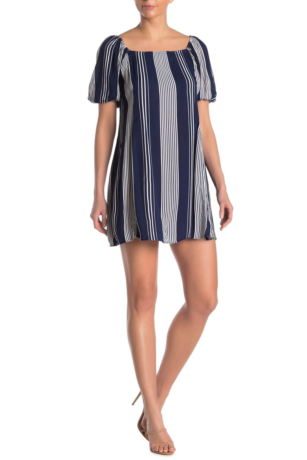 Image of Angie Stripe Puff Sleeve Mini Dress