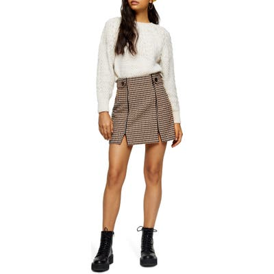 Topshop Houndstooth Miniskirt, US (fits like 6-8) - Ivory