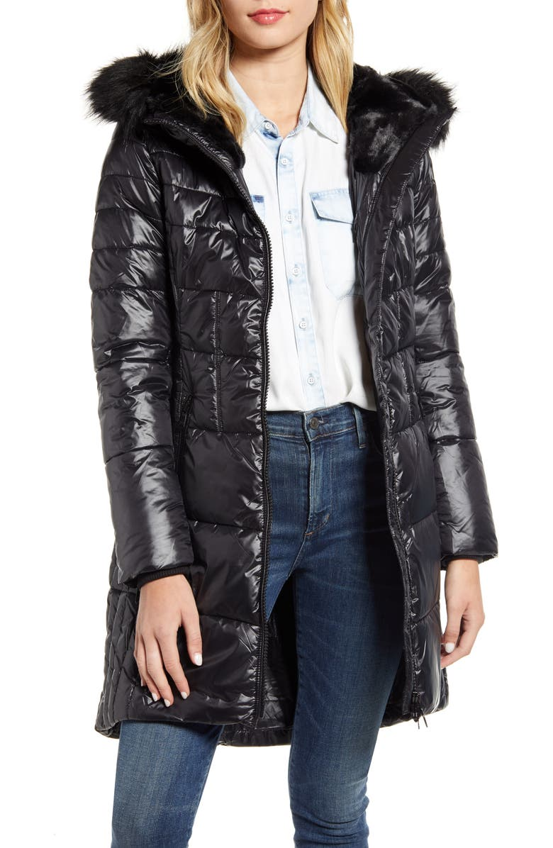 BARBOUR Faux Fur Hood Quilted Coat, Main, color, BLACK/ BLACK
