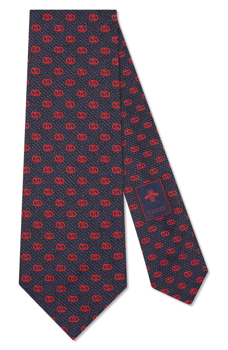 GUCCI GG Tinev Silk Jacquard Tie, Main, color, 4074 MIDNIGHT RED