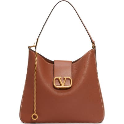 Valentino Garavani V-Sling Leather Hobo Bag - Brown