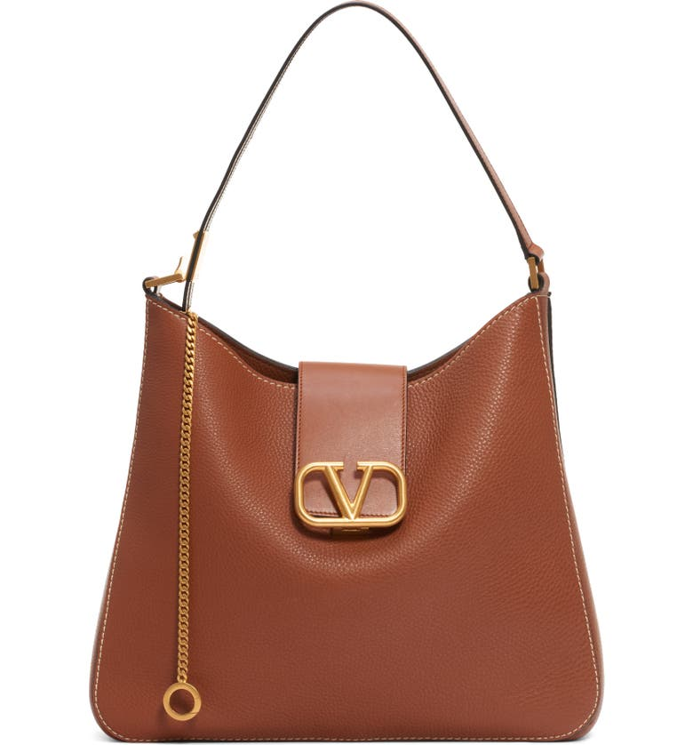 VALENTINO GARAVANI V-Sling Leather Hobo Bag, Main, color, SELLERIA/ NERO