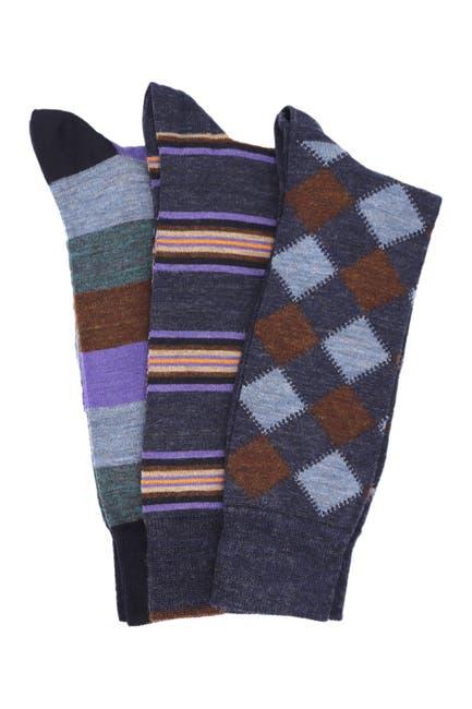 Image of Lorenzo Uomo Italian Merino Wool Crew Socks - Pack of 3