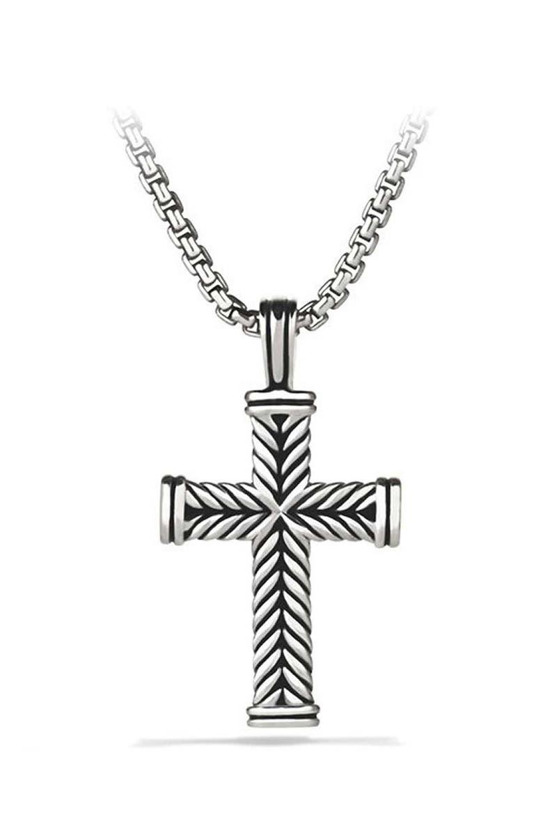 DAVID YURMAN Chevron Cross Pendant, Main, color, SILVER