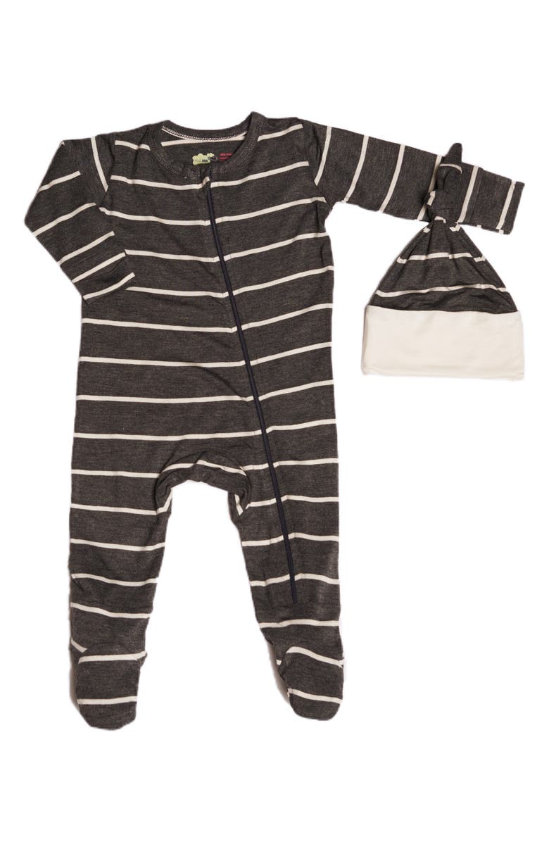EVERLY BY BABY GREY Baby Grey Jersey Footie & Hat Set, Main, color, CHARCOAL